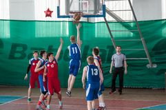 Boys play basketball, Orenburg, Russia Royalty Free Stock Photography