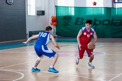Boys play basketball, Orenburg, Russia royalty free stock image
