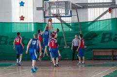 Boys play basketball, Orenburg, Russia Stock Photo