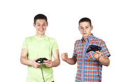 Boys play computer games. Two guys are playing computer games Stock Images