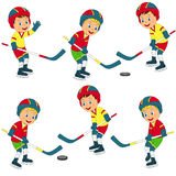 Boys play ice hockey collection Royalty Free Stock Images