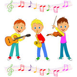 Boys play musical instruments Stock Photography