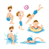 Boys play and swim in the pool. Flat pictures set of boys wich play and swim in the pool. Vector illustrations isolate on white background Royalty Free Stock Image