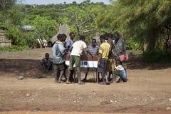 Boys play table soccer Stock Photos