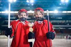 Boys players ice hockey winner trophy royalty free stock images