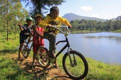 Boys playing around Lake Cisanti stock photo