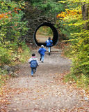 Boys Playing in Autumn. Three boys running into a tunnel in a forest in autumn Royalty Free Stock Images