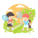 Boys playing badminton Stock Photo