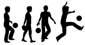 Boys playing ball silhouette set Stock Images