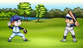 Boys playing baseball stock illustration