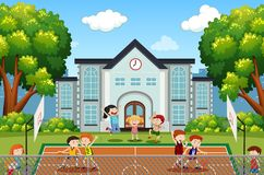 Boys playing basketball on court royalty free illustration