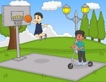 Boys playing basketball and scooter at the park cartoon Stock Photography