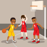 Boys Playing Basketball. Young boys playing basketball sport match competition vector illustration