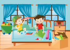 Boys playing in the bedroom Royalty Free Stock Image