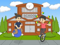 Boys playing bouncing ball and unicycle in the school cartoon Royalty Free Stock Image