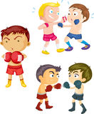 Boys Playing Boxing. Illustration of Boys Playing Boxing on white background Royalty Free Stock Image