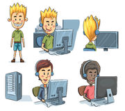 Boys Playing Computer. Cartoon illustration of boys playing computer Royalty Free Stock Photography
