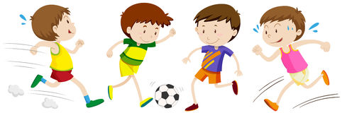 Boys playing different sport Stock Photos