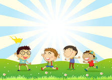 Boys playing in the hill vector illustration