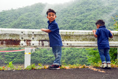 Boys playing in nature Royalty Free Stock Image
