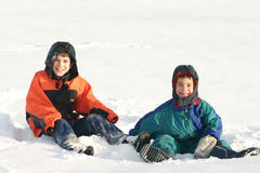 Boys Playing outside in Snow Royalty Free Stock Photography