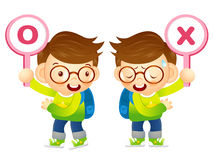 Boys are playing OX Quiz game. Education and life Character Desi Stock Photo