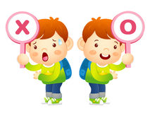 Boys are playing OX Quiz game. Education and life Character Desi Stock Image
