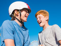 Boys Playing Paper, Rock, Scissors On The Santa Monica Pier Royalty Free Stock Images