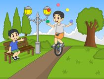 Boys playing rocking horse and unicycle at the park cartoon Royalty Free Stock Image