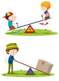 Boys playing seesaw and man lifting box with beam Royalty Free Stock Photography