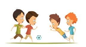 Boys Playing Soccer Cartoon Style Illustration royalty free illustration