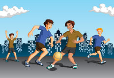 Boys playing soccer Royalty Free Stock Photography