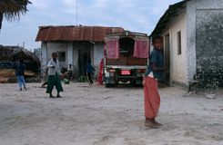 Boys playing by their house, Zanzibar Stock Photography