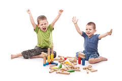 Boys playing whit blocks Royalty Free Stock Photo
