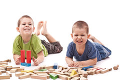 Boys Playing Whit Blocks Royalty Free Stock Images