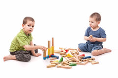 Boys Playing Whit Blocks Royalty Free Stock Photos