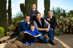 The Boys. Portrait of the men and boys in a large family.  A father with his sons in the Arizona desert Stock Photo