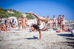 Boys Practicing Capoeira on Ibiza B Stock Photography