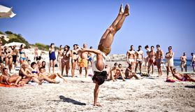 Boys Practicing Capoeira on Ibiza B royalty free stock images
