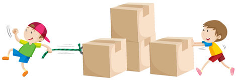 Boys pulling and pushing boxes Royalty Free Stock Images
