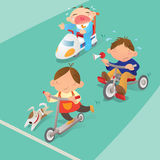 Boys racing game. Vector illustration of a racing game of boys Stock Photography