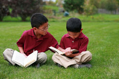 Boys reading Royalty Free Stock Photo
