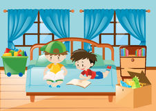 Boys reading book in the bedroom. Illustration Vector Illustration