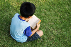Boys Reading stock images