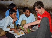 Boys Reading. Together on a visit to a school in Jaipur, India Royalty Free Stock Images