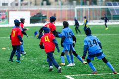 Boys in red and blue sportswear plays soccer on green grass field. Youth football game. Children sport competition, kids plays. Outdoor, winter activities stock photo