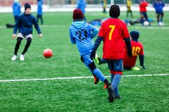 Boys in red and blue sportswear plays soccer on green grass field. Youth football game. Children sport competition. Kids plays outdoor, winter activities stock photography