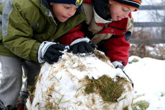 Boys rolling a Snowball. Two boys are rolling a snowball on a farm, ready to make a snowman Royalty Free Stock Images