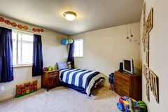 Boys room interior with blue details Stock Image