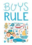 Boys rule nursery poster. Stock Image